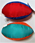 PET INC Canvas Squeaky Dog Toy Set of 2 6 Footballs Red  Blue Orange  Green