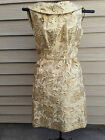 Vintage Gold Lame Brocade Custom Handmade Cocktail Metallic Sleeveless Dress 50s