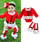 US Stock Toddler Baby Girl Boy Tops Romper+Leg Warmers XMAS Outfits Set Clothes