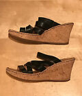 Born Cork Wedge Heel Black Leather Sandals Womens Size 85 Euro Size 39 US EUC