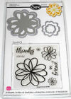 NEW Sizzix DOODLE FLOWERS 12pc FRAMELITS  STAMP SET 657580 Thanks Friend