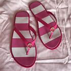 Juicy Couture Flip Flops Pink White Stripe Gold Logo Medium M Size 7 8