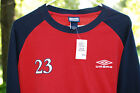 NEW UMBRO Mens Football Soccer 23 Red  Navy Long Sleeve Shirt Sz Large L NWT