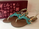 SO PANAMA Braided Turquoise Silver Ankle Strap Thongs Sandals Shoes 75 M NEW