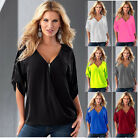 US Womens Casual Zipper Sexy V Neck Half Sleeves Loose Tops T Shirt Blouse Tee
