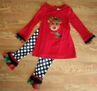 Girls Size 6 Boutique Style CHRISTMAS Tunic Leggings Outfit Reindeer Polka Dot