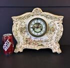 Antique WATERBURY Porcelain Case CLOCK Shelf Mantle Parlor