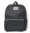Justice Black Cool Glitter Silver Hearts  Stars Backpack NWT