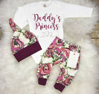 USA Stock Newborn Baby Girls Flower Romper Pants Leggings Hat Outfit Set Clothes