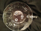 Vintage Dish Bowl Clear Glass Candy Nut Etched Pineapple Footed Serving Handle