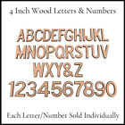 Wood Letters  Numbers CLASSIC Font 4 Inch Individual Letter or Number