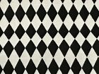 Fabric Diamonds Black  White Damask on Cotton by the 1 4 yard BIN