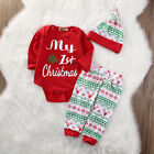 US Stock Infant Baby Girls First Christmas Clothes Romper +Pants Hat Outfits Set