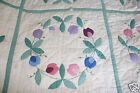 Antique 1930s Handmade Quilt Flowers Good Color 65 x 83 inches
