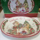 Fitz & Floyd Celebrate The Season Sentiment Tray Rocking Horse Christmas Plate