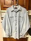 Vintage Wrangler Jean Shirt XL Western Cowboy Farm Ranch Work Casual Dress