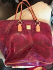 Dooney  Bourke Pink Snakeskin Print Leather Tote