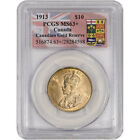 1913 Canada Gold 10 Dollars $10 - Canadian Gold Reserve - PCGS MS63+ Plus Grade