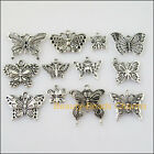 12Pcs Antiqued Silver Tone DIY Animal Butterfly Mixed Charms Pendants