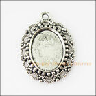 3Pcs Antiqued Silver Tone Oval Flower Heart Picture Frame Charms 225x315mm