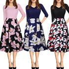 Women Vintage Style Pinup Swing Evening Party Long Sleeve Rockabilly Retro Dress