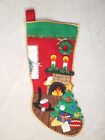 Vintage Christmas Felt Stocking Handmade 3D mantel tree gifts wreath 18