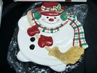 Fitz and Floyd Essentials Plaid Christmas Snowman Canape Plate 2063/126 IN BOX