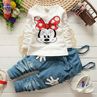 Cartoon Kids Girls Baby Minnie Mouse T shirt+Denim Bib Pants 2pcs Outfits Set US