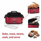 Large Turkey Roaster Oven 28 lb. 22 Quart Electric Slow Cooker Home Kitchen, Red