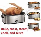 Large Turkey Roaster Oven 28 lb. 22 Quart Electric Slow Cooker, Stainless Steel