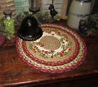 Primitive Antique Vtg Style Farmhouse BRAIDED Candle Trivet LARGE ROUND MAT B390