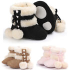 Newborn Baby Girls Soft Booties Winter Warm Snow Boots Bowknot Sole Shoes 0 18M