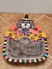 FITZ & FLOYD Halloween KITTY WITCHES w/Curly Q's Canape Snack Plate Dish
