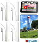 4 PACK Feather Flutter Swooper Flag 16 POLE + SPIKE Ground Stake Mount KIT