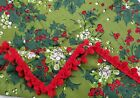 Vintage Red  Green Christmas Holly berry Rectangle Tablecloth 50 x 50in pom pom