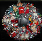 HANDMADE CHRISTMAS WREATH PIXIE ELVES SANTA REINDEER ANGELS VINTAGE ORNAMENTS+