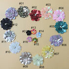 5PCS Mixed Flower Handmade Sequin Bead Sew on Patches DIY Applique Trim