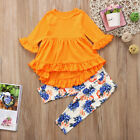 Boutique Toddler Girls Kids Tunic Tops Dress Floral Pants Leggings Outfits Set