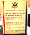 OLD 1970S US GOVERNMENT FAA TRANSPORTATION OF AIRPORT FIREARMS SIGN STANDEE