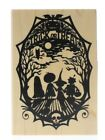 Inkadinkado Halloween Silhouette Trick or Treat Scene Wooden Rubber Stamp