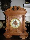 Ansonia Clock antique oak mantel1890s Big 15 wide Very rare