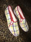 NEW KEDS WHITE RED PLAID SLIP ON SNEAKERS FABULOUS 10M
