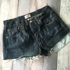 VINTAGE LEVI BLUE DENIM SHORTS SIZE 10 12 W30 HIGH WAIST CUT OFFS JEAN MOM B26