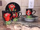 Very Rare Fitz and Floyd Cup and Saucer Set Jardin Rouge