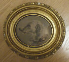 Antique Oval Gilded Gesso Wood Ornate Picture Frame w Sporting Dog Engraving