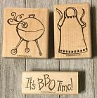Retired Stampin Up Backyard BBQ Set Of 3 New Unused Wooden Rubber Stamps 2005