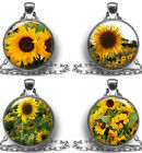 Pendant Necklace SUNFLOWERS Photo Jewelry Antique Silver Charm Handmade USA