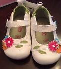 Girls Circo Mary Jane Shoes Size 4 White w flowers