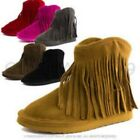 Girl Toddler Fringe Faux Suede Ankle Fashion Boots Brown Size 8