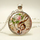 Ancient silver musical note Tibetan silver Glass Chain Pendant Necklace